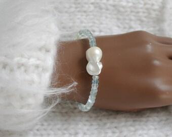 Baroque Pearl aquamarine gemstone bracelet aquamarine Baroque pearl bracelet