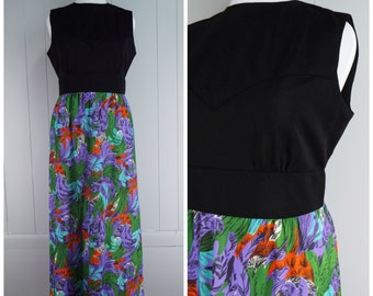 Vintage Womens 1970s Maxi Dress with Black Bodice and Purple Floral Skirt | Size L
