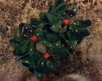 One (1) Green Christmas Handmade Hair Bow