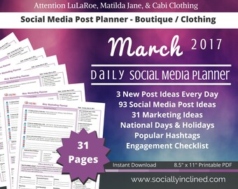 Social Media Planner for LuLaRoe or Clothing / Boutique - March 93 social media post ideas, 31 marketing tips, checklist, goal s & tasks