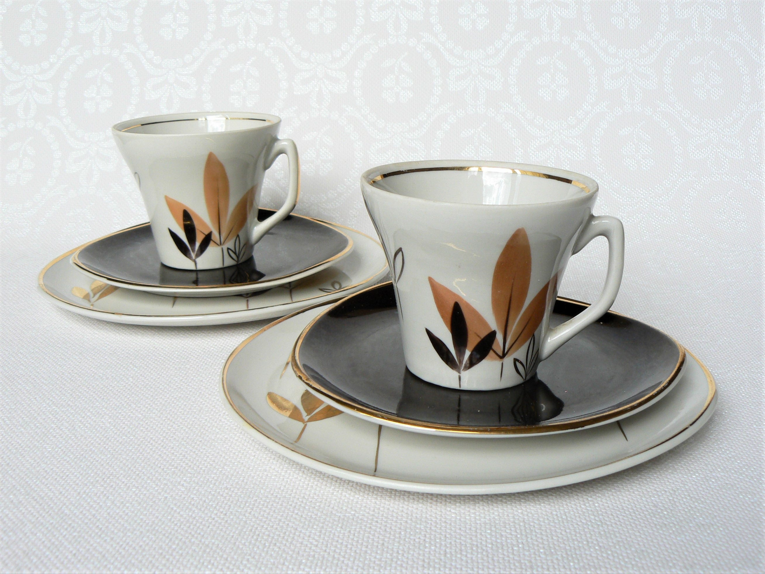 COFFEE Set Latvian Vintage/ Porcelain Coffee Cup Saucer u0026 Dessert Plate/ Handpainted Leaves & COFFEE Set Latvian Vintage/ Porcelain Coffee Cup Saucer u0026 Dessert ...
