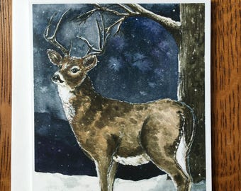 Stag on a Starry Evening Card