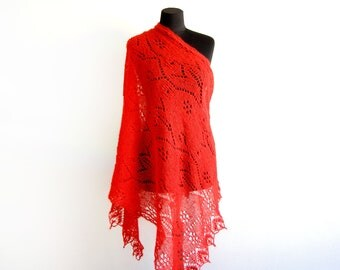 mohair red, Knitted Shawl, gift for her, womens gift, lace Shawl, shawl wool, knit scarf, Knitted wool Shawl  Wrap, knit pashmina