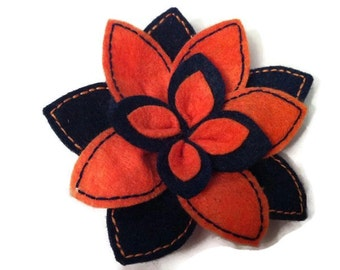 Brooch felt flower, flower, felt brooch felt, brooch women, brooch Orange, blue brooch, elegant brooch, female gift, flower brooch