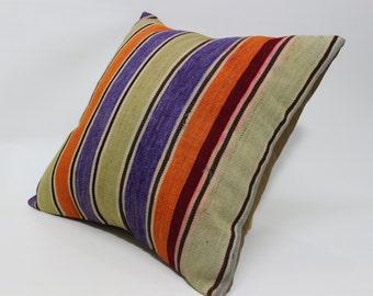 24x24 Naturel Kilim Pillow Fllor Pillow Ethnic Pillwo 24x24 Home Decor Cushion Cover Bed Pillow Striped Pillow Cushion Cover SP6060-1077