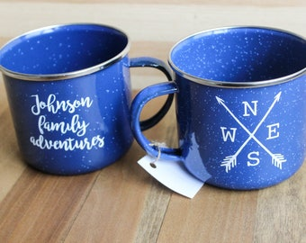 Personalized Family Compass Arrow Camping Mug, double-sided design