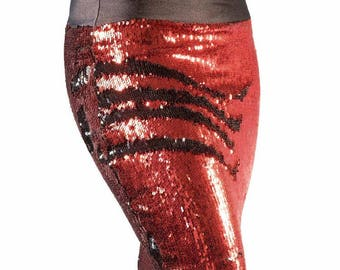 Red/Black color changing sequin pencil skirt
