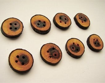 "20mm wooden branch buttons - 3/4"" diameter - 4 holes 1.5mm - hand made"