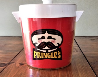 Retro Red Fun 1970s Pringles Ice Bucket / Cooler Party Camping BBQ Man Mustache Storage Drink Beverage Chiller Beer Champagne  Barware
