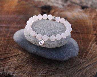 "Rose Quartz ""Love"" Bracelet Heart Chakra Sterling Silver Charm"