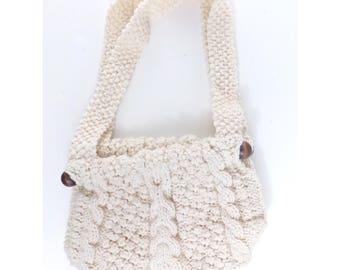 Vintage Crochet Ivory Macramé Shoulder Bag Purse and Wood Handles Handbag