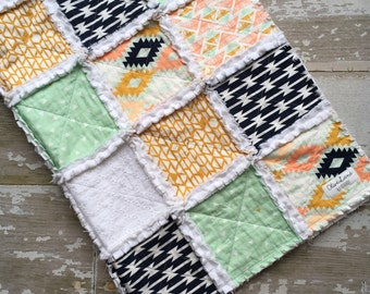 Aztec Minky Baby Rag Quilt - Minky Blanket - Rag Quilt - Toddler Crib Quilt -  Mint Coral Navy White Baby Quilt