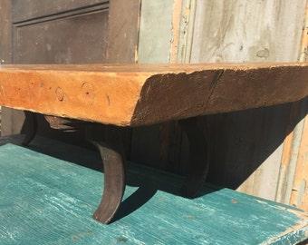 Antique Wood and Iron Shelf