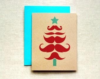 Hipster Christmas Card (Individual & Set of 4), Mustache Christmas Card, Christmas Card, Holiday Card, Christmas Tree Card