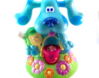 Vintage BLUES CLUES Water Sprinkler Spin n Splash Toy Blue Puppy Spotted Spots 90s Viacom Tyco Original TV Show Kids Chire Kidcore Figure