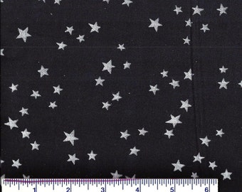 AF100- Metallic SILVER STARS Fabric on BLACK - Celestial - Sky - Novelty - Quilt Shop Quality Fabric - 100% Cotton - By the Yard