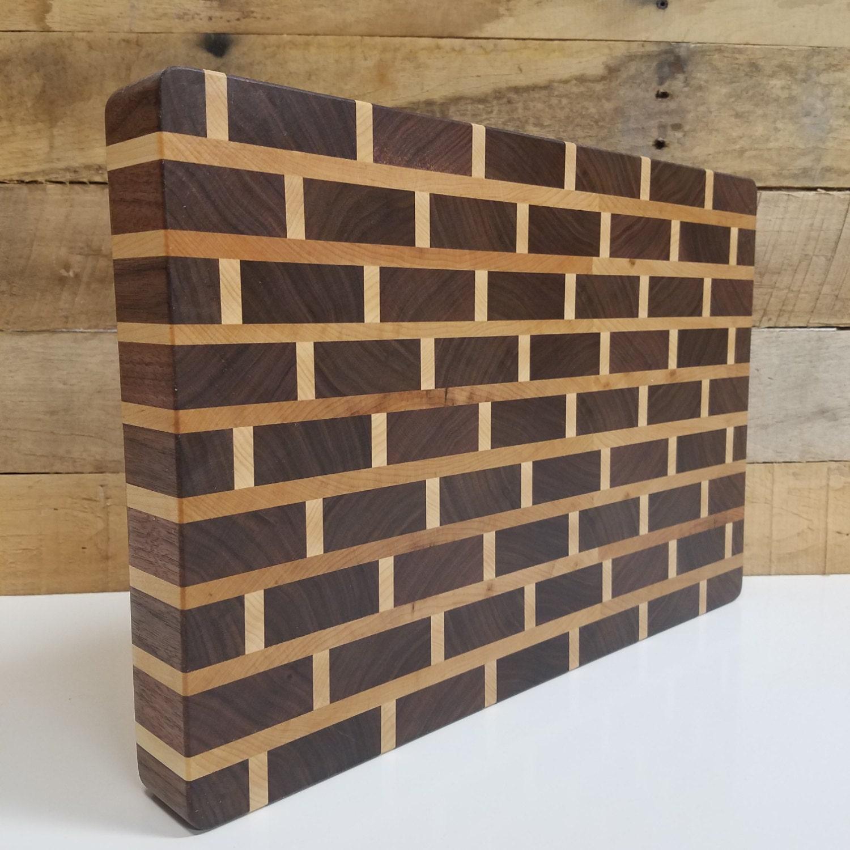 Wood Block Board ~ Wood butcher block cutting board end grain brick pattern gift