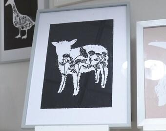 Black sheep. Pressure. Sheep / linocut / hand printed