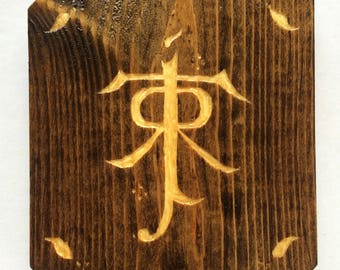 Tolkien Initials Woodcarving Hobbit Art Wall Hanging Sign Handcrafted Upcycled LOTR Lord of the Rings Dorm Decor Decoration