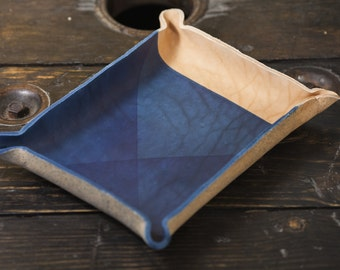 Indigo Dyed Leather Catchall Tray with X Dyed Pattern
