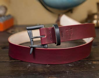 "Limited Edition 1.5"" OxBlood Leather Quick Release Belt with Blacked Out Buckle and Bridle Leather Keeper. Hand Stitched!"