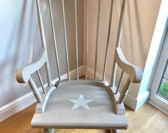 Vintage Spindle back Rocking Chair with star design/ Grey Rocker