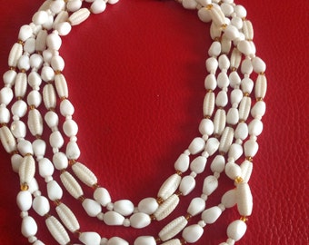 Antique vintage milk glass white multi strand 1940s 1950s beaded necklace 5 row czech