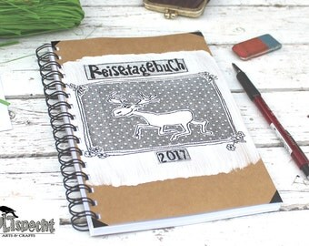 Journal Retro, diary, sketchbook, notebook, spiral binding, retro, nostalgia, elk, kraft paper, handmade, Made in Germany,
