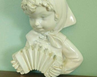 Vintage Wood Art-Girl Playing Accordian-Hand Carved