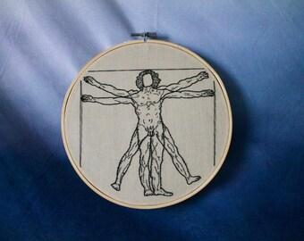 The Vitruvian Man - L'Uomo Vitruviano - Leonardo da Vinci Embroidery