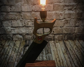 Carpenters Saw and Block Table Lamp