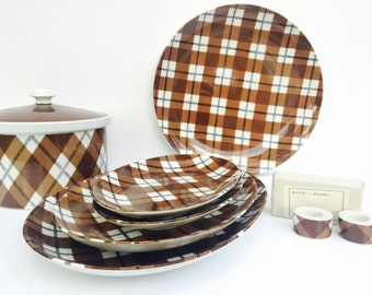 Vintage Fitz and Floyd Brown Plaid Plates, Pot, and Matching Candleholders