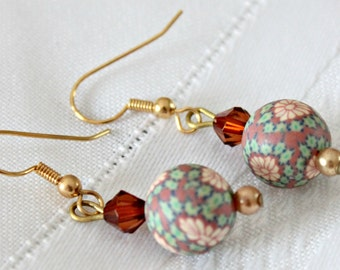 Floral Ball Dangle Earrings
