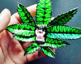 Green Tiger Carniflora brooch pendant polymer clay