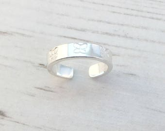 Butterfly Toe Ring, Sterling Silver Toe Ring, Silver Toe Ring, Summer Fashion, Body Jewellery, Silver Toe Ring, Adjustable Ring