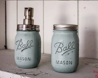 Mason Jar Bathroom Set, Custom Mason Jar set, custom mason jar set, mason jar toothbrush holder, mason jar soap dispenser, custom mason jars
