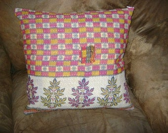 Indian Kantha Quilt Fabric 18 in. Pillow with Original Boro Patchwork