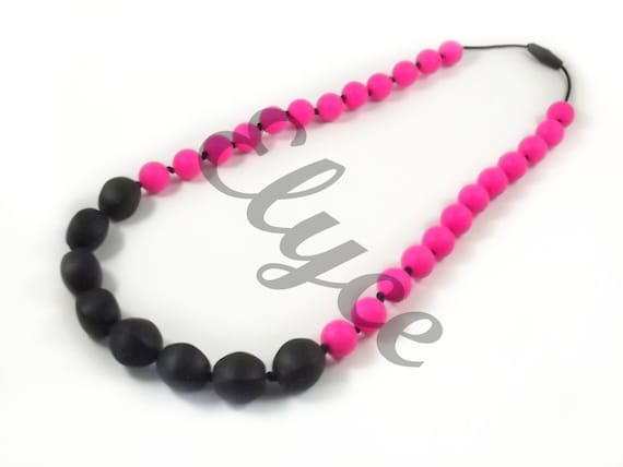 Necklace of teeth to chew on BLACK MAGENTA for MOM and baby, silicone