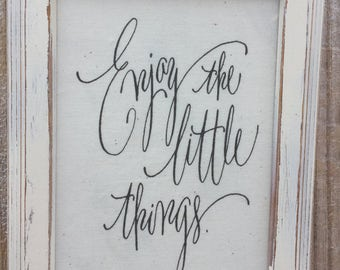 Enjoy the little things,framed canvas quote,gallery wall art,inspirational saying,family room decor,mantle art,family quote,home sign