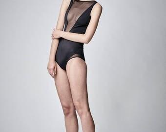 Petite Black Bathing Suit, Mesh Swimsuit, Black Mesh Bodysuit, Black Monokini, One Piece Bathing Suit, Open Back Swimsuit, Black Bodysuit