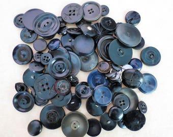 Old Buttons Lot - Vintage Black Plastic Buttons
