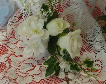 2x  IVORY/WHITE  rose  CORSAGE,