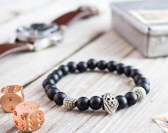 8mm - Matte black onyx stone beaded silver Lion head stretchy bracelet, made to order yoga bracelet, mens bracelet, womens bracelet
