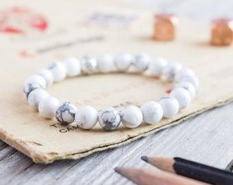 8mm - White howlite beaded stretchy bracelet, made to order yoga bracelet, mens bracelet, womens bracelet, white gemstone bracelet,