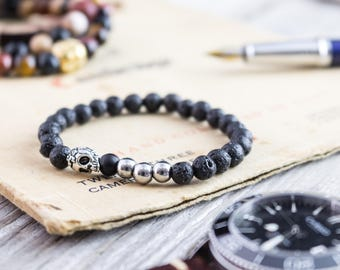 6mm - Black lava stone beaded stretchy bracelet with silver skull, made to order lava bracelet, mens bracelet, womens bracelet