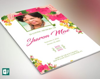 pink princess funeral program publisher template