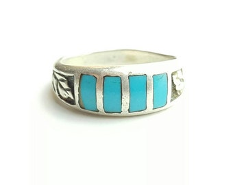 Vintage Sterling Silver and Turquoise Native American Inlay Ring with Leaf Accents- Size 6.75