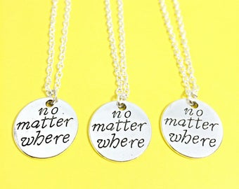 3 no matter where necklace set, best friend necklaces for 3, friendship jewelry, distance friends, 3 bff necklaces, bff gift,no matter where
