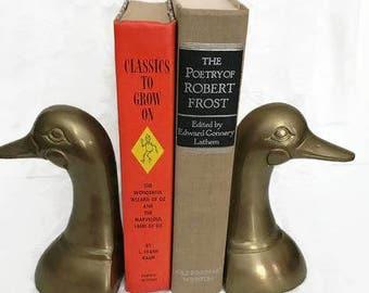 Pair of Vintage Brass Duckhead Duck Head Vintage Set of Heavy Duty Brass Duck Bookends Duck Book Ends Shelf Decor