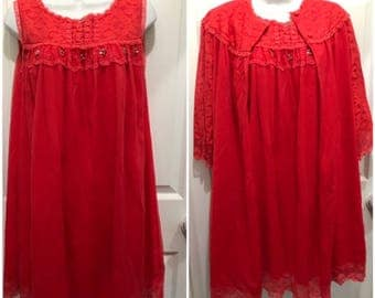 Red Chiffon Negligee Set Nightgown with Robe Sheer Lace embroidered Negligee Fully lined From Dot weir Fit Medium Size